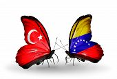 Two Butterflies With Flags On Wings As Symbol Of Relations Turkey And Venezuela