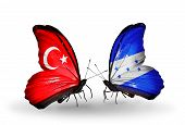 Two Butterflies With Flags On Wings As Symbol Of Relations Turkey And Honduras