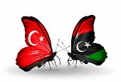 Two Butterflies With Flags On Wings As Symbol Of Relations Turkey And Libya