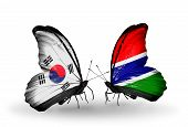 Two Butterflies With Flags On Wings As Symbol Of Relations South Korea And Gambia