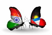 Two Butterflies With Flags On Wings As Symbol Of Relations India And Antigua And Barbuda