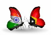 Two Butterflies With Flags On Wings As Symbol Of Relations India And  East Timor