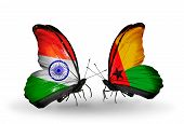Two Butterflies With Flags On Wings As Symbol Of Relations India And Guinea Bissau