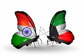 Two Butterflies With Flags On Wings As Symbol Of Relations India And Kuwait