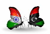 Two Butterflies With Flags On Wings As Symbol Of Relations India And Libya