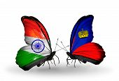 Two Butterflies With Flags On Wings As Symbol Of Relations India And Liechtenstein