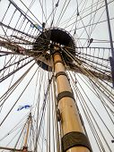 stock photo of tall ship  - View of the mast on a tall ship - JPG
