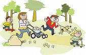 Happy family in park cartoon