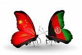 Two Butterflies With Flags On Wings As Symbol Of Relations China And Afghanistan