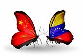 Two Butterflies With Flags On Wings As Symbol Of Relations China And Venezuela