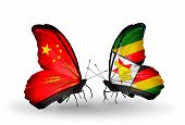 Two Butterflies With Flags On Wings As Symbol Of Relations China And  Zimbabwe
