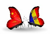 Two Butterflies With Flags On Wings As Symbol Of Relations China And Moldova