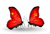 Two Butterflies With Flags On Wings As Symbol Of Relations China And Soviet Union