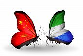 Two Butterflies With Flags On Wings As Symbol Of Relations China And Sierra Leone