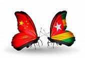 Two Butterflies With Flags On Wings As Symbol Of Relations China And Togo