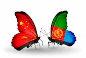 Two Butterflies With Flags On Wings As Symbol Of Relations China And Eritrea