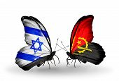 Two Butterflies With Flags On Wings As Symbol Of Relations Israel And Angola