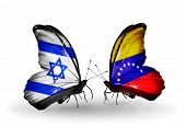 Two Butterflies With Flags On Wings As Symbol Of Relations Israel And Venezuela