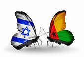 Two Butterflies With Flags On Wings As Symbol Of Relations Israel And Guinea Bissau