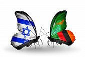 Two Butterflies With Flags On Wings As Symbol Of Relations Israel And Zambia