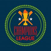 Stylish badge design for Cricket Champions League with bats and winning trophy on blue background.