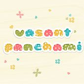 Beautiful greeting card design decorated by colorful text Vasant Panchami and flying butterflies and hearts.