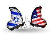 Two Butterflies With Flags On Wings As Symbol Of Relations Israel And Liberia