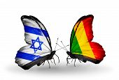 Two Butterflies With Flags On Wings As Symbol Of Relations Israel And Mali