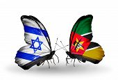Two Butterflies With Flags On Wings As Symbol Of Relations Israel And Mozambique