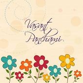 stock photo of saraswati  - Greeting card decorated by colorful flowers for Happy Vasant Panchami - JPG
