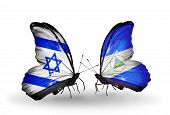 Two Butterflies With Flags On Wings As Symbol Of Relations Israel And Nicaragua