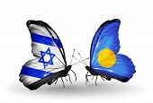 Two Butterflies With Flags On Wings As Symbol Of Relations Israel And Palau