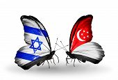 Two Butterflies With Flags On Wings As Symbol Of Relations Israel And   Singapore