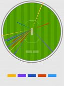 picture of cricket shots  - Cricket shots statistics showing by different colors on stadium background - JPG