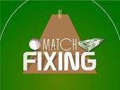 Cricket match fixing concept with bundle of dollar and white ball on field background.