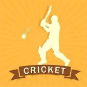 Cricket batsman is ready to hit shot on yellow rays background.