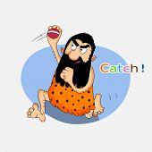 Cartoon illustration of a caveman grabing a cricket ball.