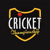 Cricket Championship concept with winning shield and red ball on stylish background.