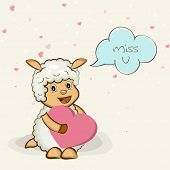 Cute cartoon of a kiddish goat holding a pink heart and saying Miss U for Happy Valentine's Day celebration.