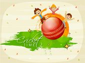 Cute little kids enjoying on glossy red ball with national flag colors for Cricket on stylish background.