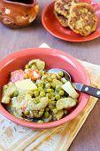 Peas, Carrot, Potato, Courgette Casserole