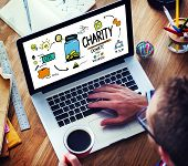 Working Laptop Support Give Help Donate Charity Concept