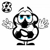 Soccer number eight in cartoon style