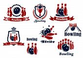 stock photo of bowling ball  - Sport emblems or logo for bowling team or club  with bowling balls - JPG