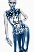 Space Woman In Silver Costume In Light