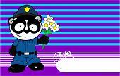 love panda bear cop cartoon background