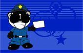 card panda bear cop cartoon background