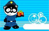 gift panda bear cop cartoon background