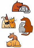 picture of veterinary  - Mascot or logo for veterinary service or pet shop with cartoon cat and dog characters in different poses - JPG