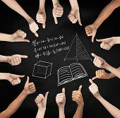 school, education, gesture, mathematics and people concept - human hands showing thumbs up in circle over black board background with mathematical symbols